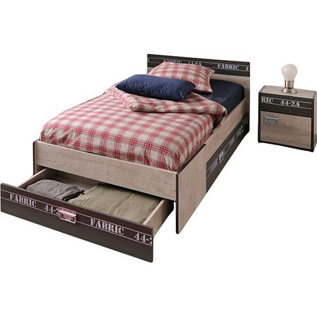 Funktionsbett Fabric Parisot 2-teilig inkl. Nachtkommode Grau - Bild 1