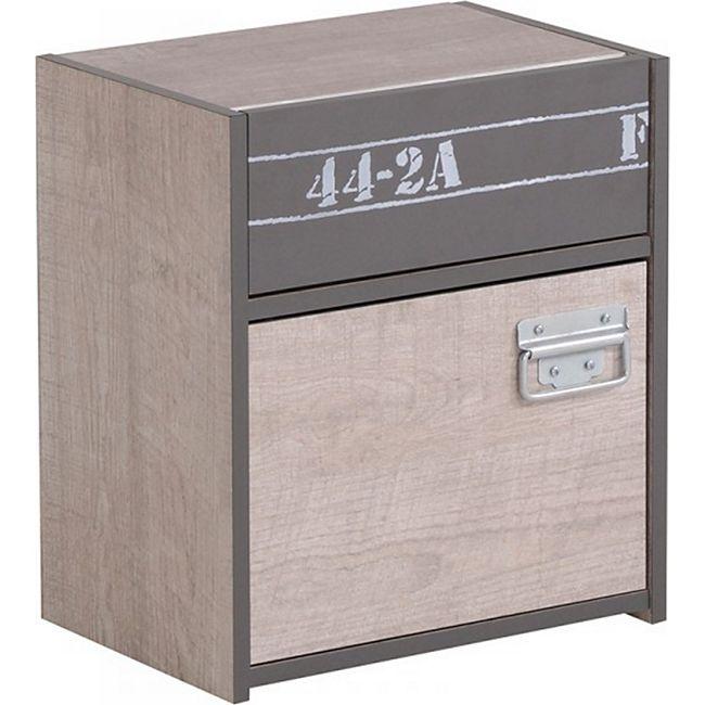Nachtkommode Fabric Parisot mit 1 Schublade und 1 Fach B 40 cm H 46 cm T 28 cm grau - Bild 1