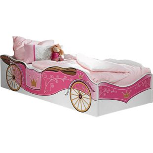Kinderbett Zoe mit Kutschenmotiv + inkl Matratze 90*200 cm weiß - pink - Bild 1