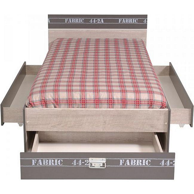 Funktionsbett Fabric Parisot mit 3 Bettschubkästen 90*200 cm grau - Bild 1