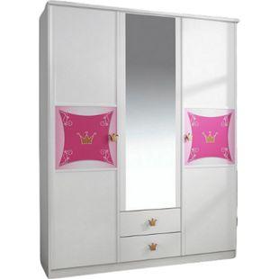 Kleiderschrank Zoe weiß - rosa 3 Türen B 136 cm - Bild 1