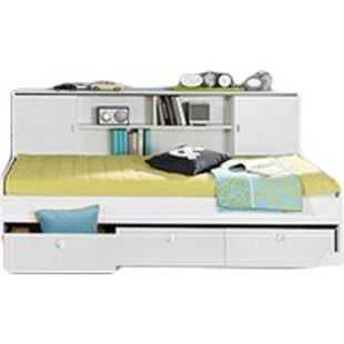 Funktionsbett Manuel inklusive Regalüberbau + 3 Schubladen 90*200 cm weiß - Bild 1