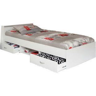 Funktionsbett Alawis Parisot inkl. 2 Bettkästen + 1 x Regal 90*200 cm weiß - Bild 1