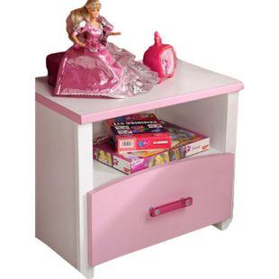 Nachtkommode Biotiful Parisot mit 1 Schublade und 1 offenes Fach B 44 cm H 44 cm T 28 cm weiß rosa - Bild 1
