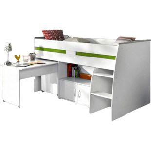 Hochbett Reverse Parisot weiß inklusive Schreibtisch + Kommode + Ablagefach + Lattenrostplatte - Bild 1