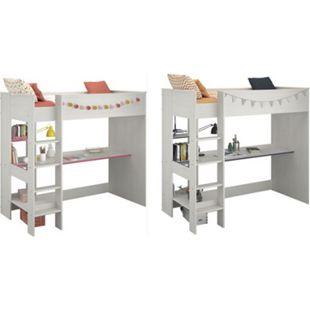 Hochbett Smoozy Parisot weiß inkl. Schreibtisch + Leiter 90*200 cm weiß drehbare Kanten in pink blau - Bild 1