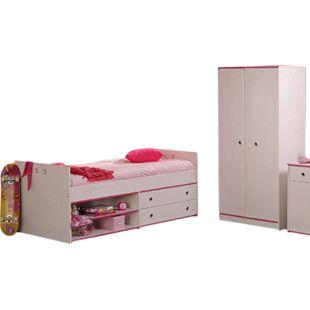 Kinderzimmer Smoozy Parisot 2-tlg weiß Bett + Kleiderschrank Funktionsbett Kinderbett Jugendzimmer - Bild 1