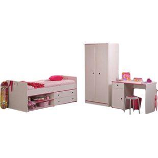 Kinderzimmer Smoozy Parisot 3-tlg weiß Bett Kleiderschrank Schreibtisch Funktionsbett Jugendzimmer - Bild 1