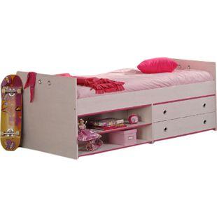 Funktionsbett Smoozy Parisot 90*200 cm weiß ink.l 2 Schubkästen Jugend Bett Kinderzimmer Kinderbett - Bild 1