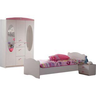 Kinderzimmer Blümchen 3-teilig Weiß - Rosa - Bild 1