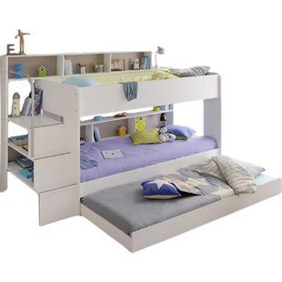 Etagenbett Bibop Parisot inklusive Leiterpodest + Regalwand + Bettkasten + 2 Lattenrostplatten weiß - Bild 1