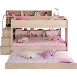 Etagenbett Bibop Parisot inklusive Leiterpodest + Regalwand + Bettkasten + 2 Lattenrostplatten beige - Bild 1