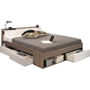 Funktionsbett Most Parisot 140*200 cm + 3 Bettkästen + Kopfteil-Regal + Fächer Eiche-Silber / weiß - Bild 1
