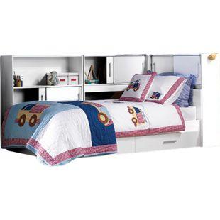 Funktionsbett Tyler 90*200 cm inkl. 3 Regale mit je 2 Fächern + Bettkästen 90*200 cm weiß - Bild 1