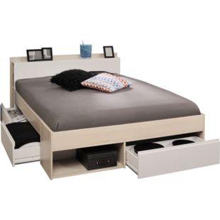 Funktionsbett Most Parisot 140*200 cm + 3 Bettkästen + Kopfteil-Regal + Fächer grau - weiß - Bild 1
