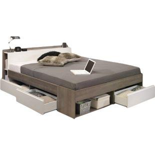Funktionsbett Most Parisot 160*200 cm + 3 Bettkästen + Kopfteil-Regal + Fächer Eiche-silber / weiß - Bild 1