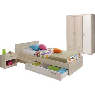 Kinderzimmer Charly Parisot 3-tlg Bett 90*200 cm mit 3-trg Kleiderschrank beige / weiß - Bild 1