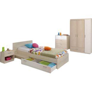 Kinderzimmer Charly Parisot 4-tlg Bett 90*200 cm mit 3-türigem Kleiderschrank grau / weiß - Bild 1