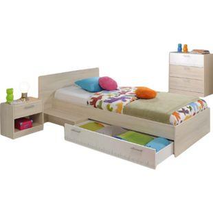 Kinderzimmer Charly Parisot 3-tlg Bett 90*200 cm + Kommode + Nachtkommode beige / weiß - Bild 1