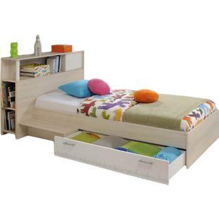 Funktionsbett Charly Parisot 90*200 cm inkl. Kopfteil + Bettkästen + Ablagetisch Akzie beige - weiß - Bild 1