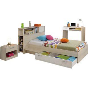 Jugendzimmer Charly Parisot 3-teilig Bett 90*200 cm mit 3-türigem Kleiderschrank Akazie grau / weiß - Bild 1