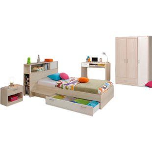 Jugendzimmer Charly Parisot 4-teilig Bett 90*200 cm mit 3-türigem Kleiderschrank Akazie beige - weiß - Bild 1