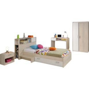 Jugendzimmer Charly Parisot 4-teilig Bett 90*200 cm mit 2-türigem Kleiderschrank Akazie beige / weiß - Bild 1