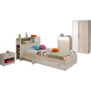 Jugendzimmer Charly Parisot 4-teilig Bett 90*200 cm mit 2-türigem Kleiderschrank Akazie grau / weiß - Bild 1