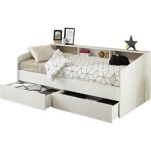 Funktionsbett Sleep Parisot inkl. 2 Bettschubkästen Regal Jugendbett Bettliege Bett weiß 90*200 cm - Bild 1