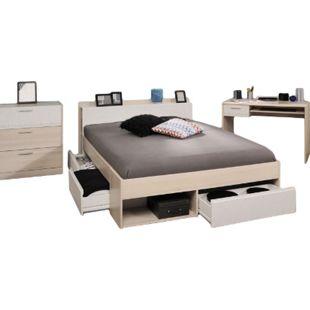 Jugendzimmer Most Parisot 3-tlg inkl. Kommode + Funktionsbett + Schreibtisch akazie / weiß - Bild 1