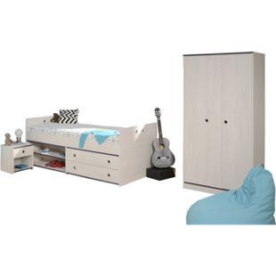 Kinderzimmer Smoozy Parisot 3-teilig Weiß Bett + Kleiderschrank + Nachtkommode Funktionsbett Drehtürenschrank Kinderzimmer 2233 - Bild 1