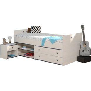 Jugendzimmer Smoozy Parisot 2-teilig weiß Bett + Nachtkommode Funktionsbett Jugendzimmer 2235 - Bild 1