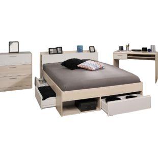 Jugendzimmer Most 3-tlg inkl. 3 Bettkästen + Kopfteil-Regal + Schreibtisch + Kommode grau / weiß - Bild 1