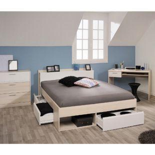 Jugendzimmer Most Parisot 3-teilig inkl. Kommode + Funktionsbett + Schreibtisch beige / weiß - Bild 1