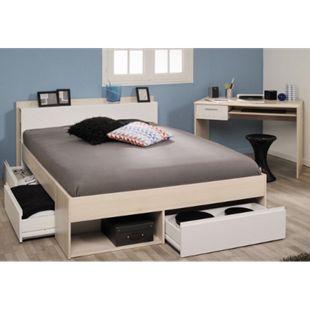 Jugendzimmer Most Parisot 2-tlg Bett + 3 Bettkästen + Kopfteil-Regal + Schreibtisch beige / weiß - Bild 1