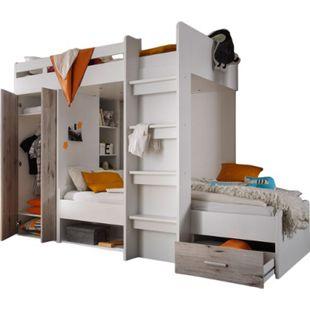 Etagenbett Nils inklusive Kleiderschrank + Schubkasten + Regale + Lattenrostplatte weiß - grau - Bild 1