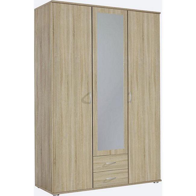 Kleiderschrank Sara 3-trg mit 1 Spiegelfront braun B 127 cm - H 188 cm - T 52 cm - Bild 1