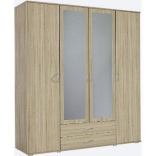 Kleiderschrank Sara 4-trg + 2 große Schubladen braun B 168 cm - H 188 cm B 168 cm - H 188 cm - Bild 1