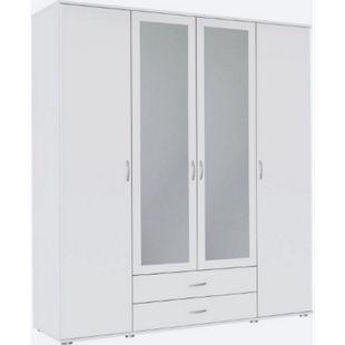 Kleiderschrank Sara 4-trg (2 mit Spiegelfront) + 2 große Schubladen weiß B 168 cm - H 188 cm - Bild 1