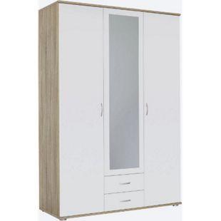 Kleiderschrank Sara 3-trg mit 1 Spiegelfront weiß B 127 cm - H 188 cm - T 52 cm - Bild 1