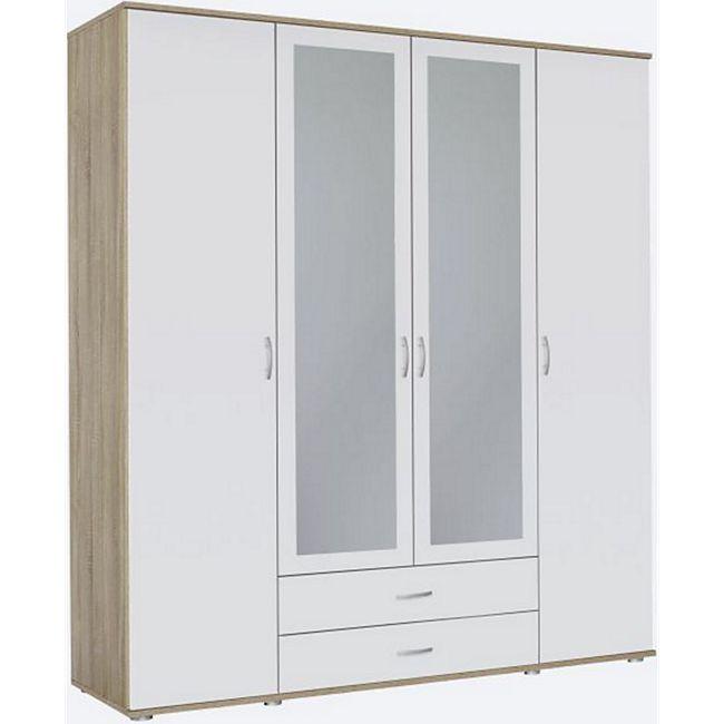 Kleiderschrank Sara 4-trg (2 mit Spiegelfront) + 2 große Schubladen weiß braun B 168 cm - H 188 cm - Bild 1