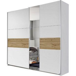 Schwebetürenschrank Pinar weiß -  braun 2 Türen B 218 cm - Bild 1