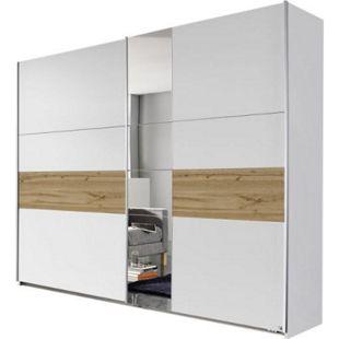 Schwebetürenschrank Pinar weiß - braun 2 Türen B 261 cm - Bild 1