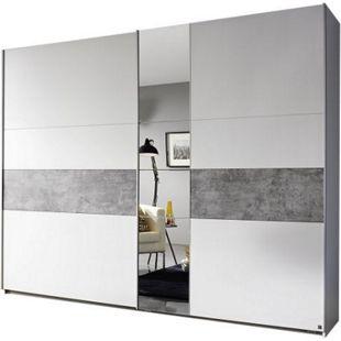Schwebetürenschrank Pinar weiß - grau 2 Türen B 261 cm - Bild 1
