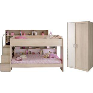 Kinderzimmer Bibop Parisot Bett + Lattenrostplatten + 2-trg Kleiderschrank + Regale + Podest-Leiter - Bild 1