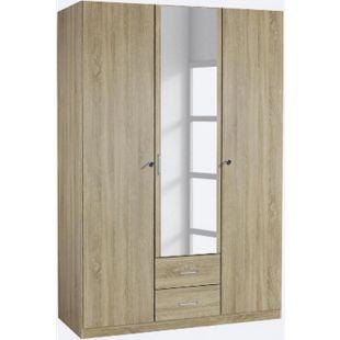 Kleiderschrank Caro 3-trg mit 1 Spiegelfront beige B 136 cm - H 197 cm - T 54 cm - Bild 1