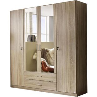 Kleiderschrank Caro 4-trg mit 2 Spiegelfront beige B 181 cm - H 197 cm - T 54 cm - Bild 1