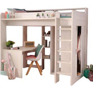 Hochbett Higher Parisot inklusive Schreibtisch, Kleiderschrank und vieler Regalfächer weiß - Bild 1