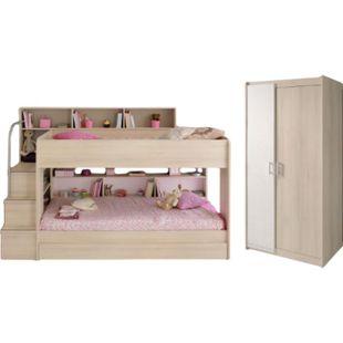 Kinderzimmer Bibop Parisot Bett + 2-trg Kleiderschrank + Regale + Podest-Leiter + Bettschubkasten - Bild 1