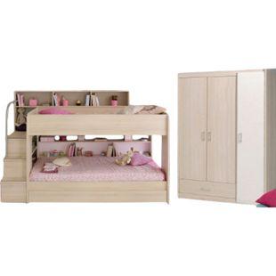 Kinderzimmer Bibop Parisot Bett + Kleiderschrank + Regale + Podest-Leiter + Bettschubkasten beige - Bild 1